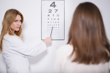 Oculist examining the patient