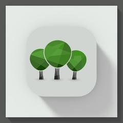 Trees symbol square button