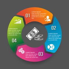 Circle infographic label four option colorful design