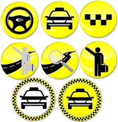 8 icons for the taxi, yelow, round