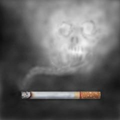Burning cigarettes with skull smoke.