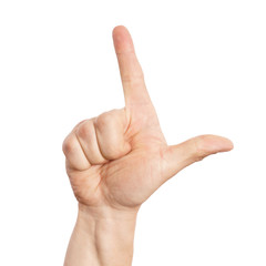 Hand zeigt Zwei