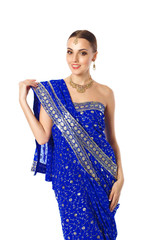 Woman In Bright Blue Indian Traditional Mekhla Clothes And Acces