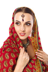 Beautiful Woman in Indian Traditional Clothes And Accessories