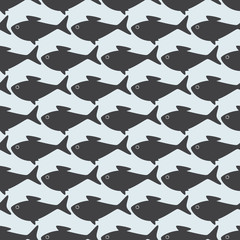 Seamless pattern with grey fishes isolated on light grey backgro