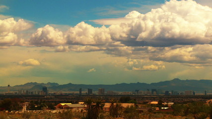 Time-lapse clouds and an approaching storm pass over Las Vegas.