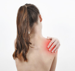 Girl having a shoulder pain