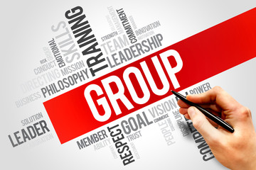 GROUP word cloud, business concept