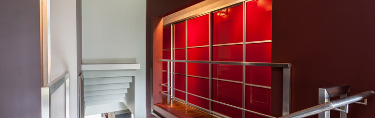 Red lighted wall