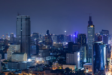 Business Building Bangkok city area at twilight scene, high angl