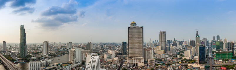 Business Building Bangkok city area at day time with transportat