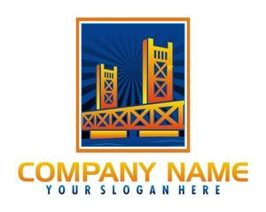 golden bridge logo image vector