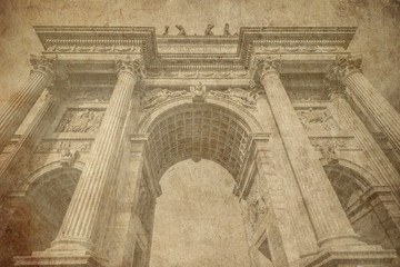 Arch of peace Milan Italy old postcard style
