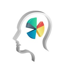 Head with pie chart