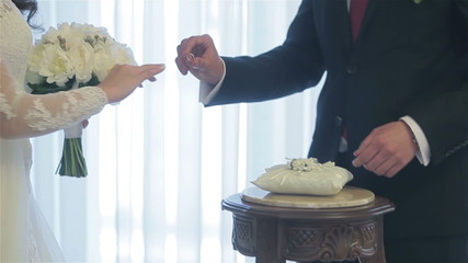 Groom and bride exchanging their wedding rings. Close-up