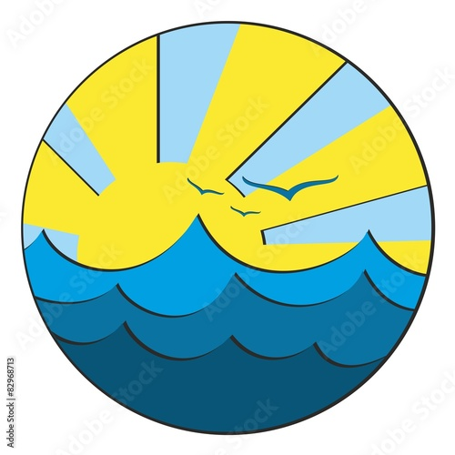 Logo the Sea with a sunset.