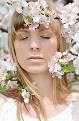 Woman dreaming in Spring