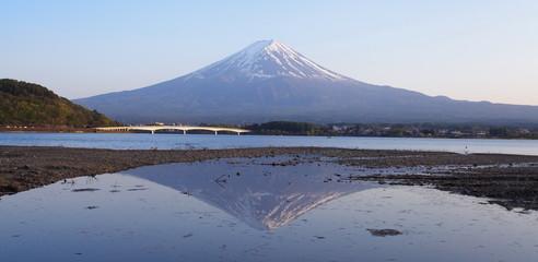 Mountain Fuji and train in winter season from Shizuoka