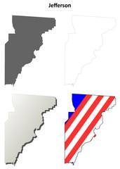 Jefferson County (Florida) outline map set