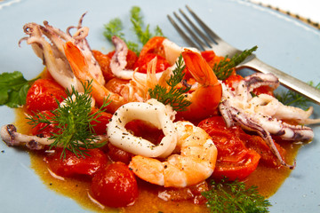 seafood soup with tomatoes and squid