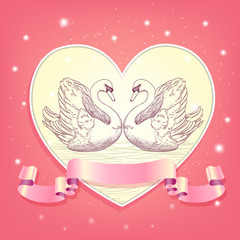heart background with hearted swans and ribbon