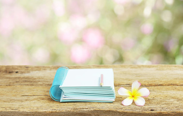 Pencils and frangipani flower on notebook
