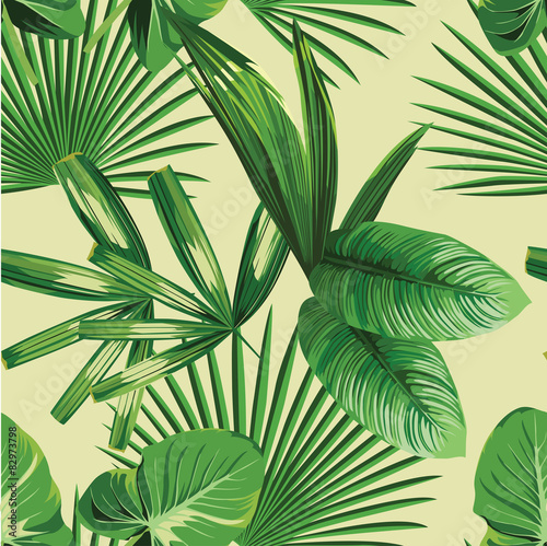 Tapeta ścienna na wymiar tropical palm leaves seamless background
