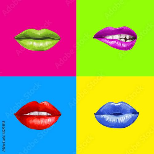 Papiers peints Pop Art Pop art lips.Lips background.