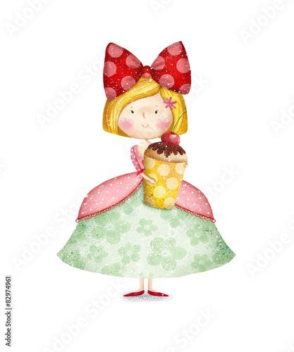 Zdjęcia na płótnie, fototapety, obrazy : Cute small girl with cupcake. Birthday  party