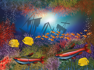 Underwater wallpaper with shipwrecks and tropical fish
