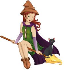 Hexe mit schwarzem Kater