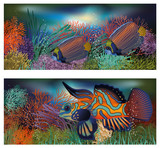 Underwater banners with tropic fish, vector
