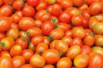 Fresh tomatoes on the table at the market