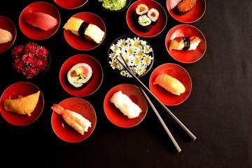 Sushi with chrysanthemums
