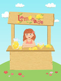 Girl Selling Fresh Lemonade at Stand in Garden