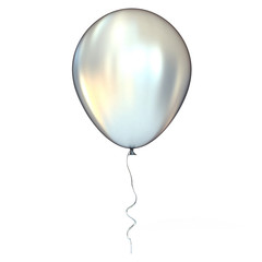 Chrome balloon with ribbon, isolated on white background