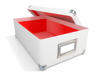 White leather opened box, red interior and blank label