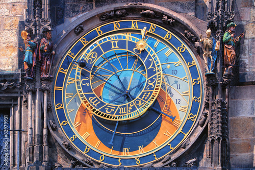 Poster Famous astronomical clock Orloj in Prague