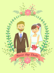 Save the date wedding invitation in flower theme