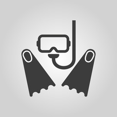The scuba mask and flippers icon. Diving symbol. Flat
