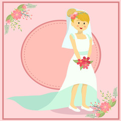 Beautiful Wedding Bride Woman in Pink Theme Background