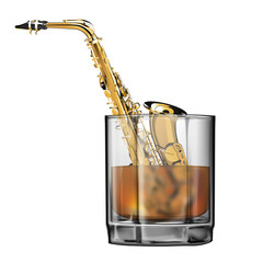 saxophone in a glass of whiskey