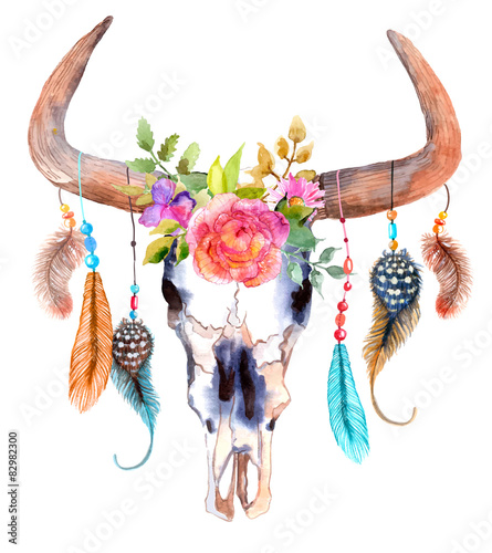 Watercolor bull skull with flowers and feathers - 82982300