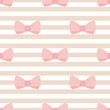 Tile vector pattern pink bows on brown white stripes background