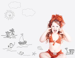 bambina in costume da bagno