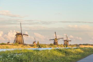 Old vintage windmills in Kindersdeijk, Holland, Netherlands