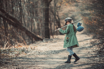 girl goes through the woods