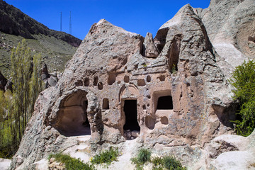 lives and churches carved in the rocks area Toganli, Turkey