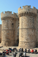 Towers of ancient fortress. Rhodes, Greece