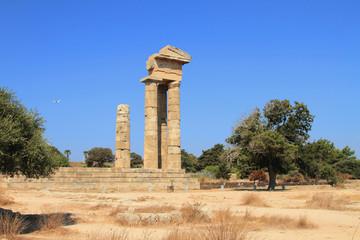 Columns of an ancient acropolis. Rhodes, Greece
